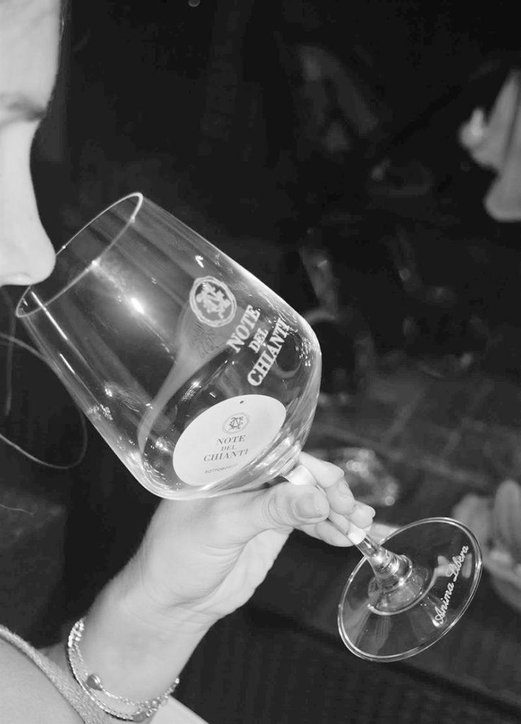 Bicchiere con logo di Note del Chianti